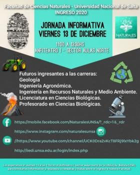 Leer más:Jornada Informativa para ingresantes 2020 a carreras de Ciencias Naturales