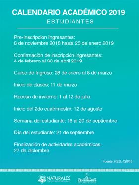Leer más:Calendario Académico para estudiantes de la Fac. de Ciencias Naturales
