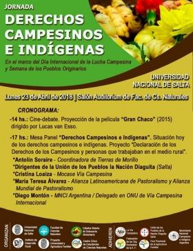 Leer más:Jornada: Derechos Campesinos e Indígenas