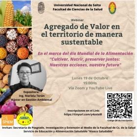 Leer más:Webinar sobre Agregado de Valor en el territorio de manera sustentable