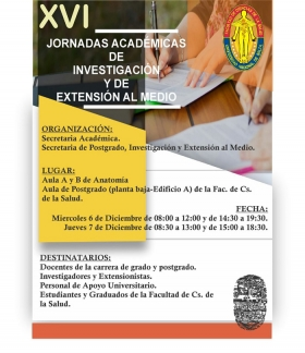 Leer más:Jornadas Académicas de Investigación y de Extensión al Medio