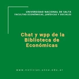 Leer más:Chat y wpp de la Biblioteca de Económicas