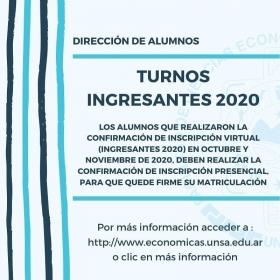 Leer más: Turnos para Ingresantes 2020 de Económicas