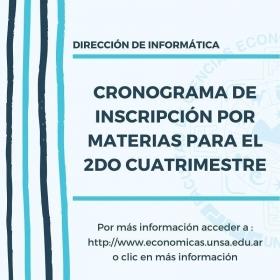 Leer más: Económicas: Cronograma de inscripción a materias del 2do Cuatrimestre