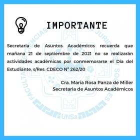 Leer más:Económicas: Sin actividades académicas por conmemorarse el Día del Estudiante