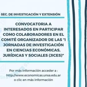"""Leer más:Convocatoria para participar como colaboradores en el Comité Organizador de las """"I Jornadas de..."""
