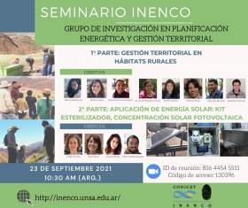 Leer más:Seminario INENCO: Gestión territorial en hábitats rurales y aplicación de energía solar