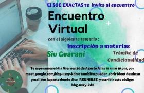 Leer más:Hoy encuentro virtual con el Servicio de Orientación Educacional de Exactas