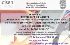 Leer más:Conversatorio abierto con el Dr. Pablo Aparicio