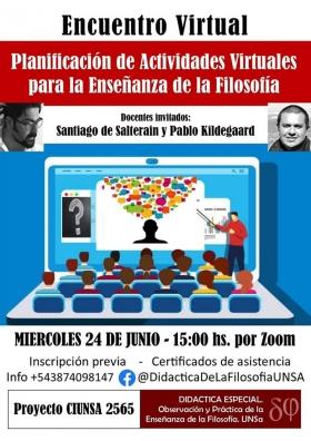 """Leer más:Encuentro Virtual """"Planificación de Actividades Virtuales para la Enseñanza de la Filosofía"""""""