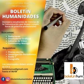 Leer más:Convocatoria para prácticas profesiones en el Boletín Humanidades