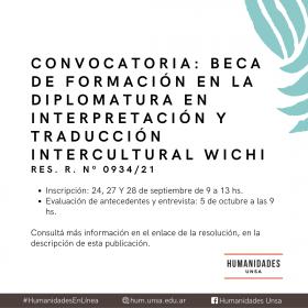 Leer más:Convocatoria para beca de formación para la Diplomatura en Interpretación y Traducción...