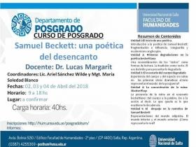"""Leer más:Curso de Posgrado """"Samuel Beckett: una poética del desencanto"""""""