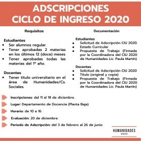 Leer más:Adscripciones Ciclo de Ingreso 2020 en la Facultad de Humanidades