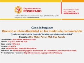 Leer más:Curso de Posgrado: Discurso e interculturalidad en los medios de comunicación