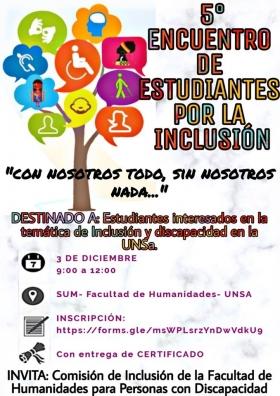 Leer más:5° Encuentro de Estudiantes por la Inclusión