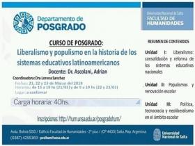 """Leer más:Posgrado: """"Liberalismo y populismo en la historia de los sistemas educativos latinoamericanos"""""""