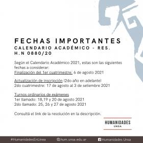 Leer más:Humanidades: Calendario académico 2021