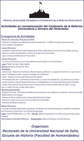 Leer más:Cronograma de actividades en conmemoración del Centenario de la Reforma Universitaria y Semana...