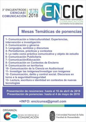 Leer más:Presentación de resúmenes y ponencias- ENCIC 2018