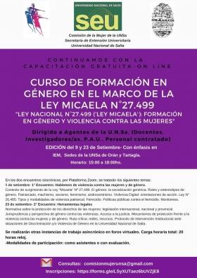 Leer más:Curso de Formación en Género: edición del 09 y 23 de septiembre
