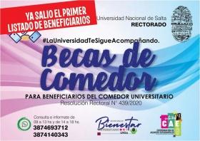 Leer más:PRIMER LISTADO DE BENEFICIARIOS DE LAS BECAS DE COMEDOR