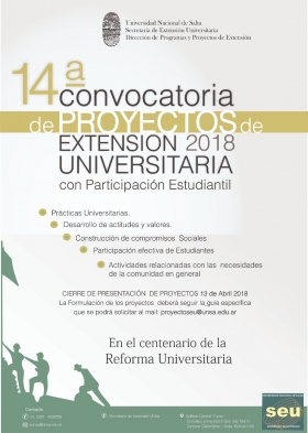 Leer más:Convocatoria de proyectos de extensión universitaria con participación estudiantil 2018