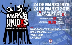 Leer más:El 24 de Marzo #MarchamosUnidxs a 42 años del golpe genocida