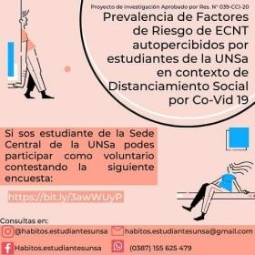 Leer más:UNSa: Convocatoria para estudiantes voluntarios de Proyecto de Investigación en contexto de...