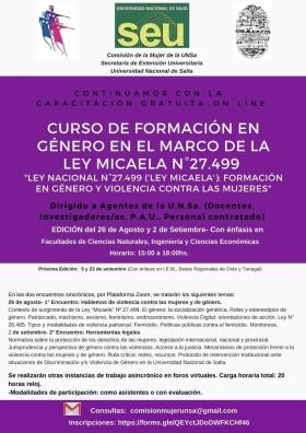 Leer más:Curso virtual sobre formación en género en el marco de la Ley Micaela
