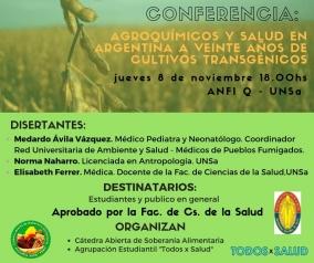 """Leer más:Conferencia """"Agroquímicos y salud en Argentina a 20 años de cultivos transgénicos"""""""